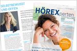 Cover HÖREXperten Magazin und eine Innenseite mit Audio Coach Jana Verheyen