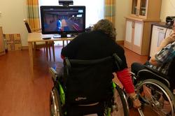 Frau im Rollstuhl vor Bildschirm